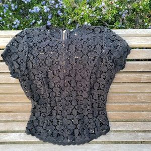 Tops - Pretty Black Lace Blouse Shirt Zipper on Back